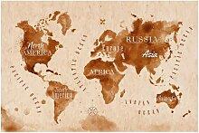 Halbglänzende Tapete Weltkarte Aquarell East