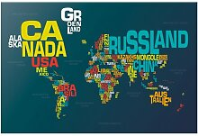 Halbglänzende Tapete Weltkarte Buchstaben East