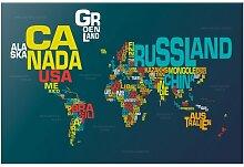 Halbglänzende Tapete Weltkarte Buchstaben