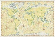 Halbglänzende Tapete Weltkarte East Urban Home