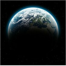 Halbglänzende Tapete Weltkarte Illuminated Planet