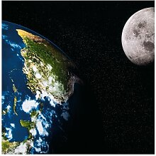 Halbglänzende Tapete Weltkarte Moon and Earth