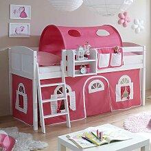 Halbhochbett in Weiß und Pink Vorhang und Tunnel