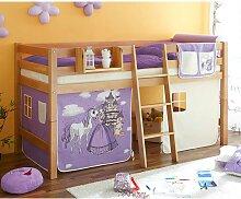 Halbhohes Bett aus Buche Massivholz Vorhang im