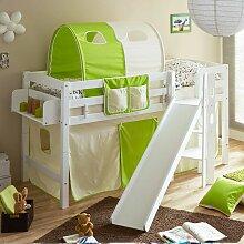Halbhohes Bett für Kinderzimmer Rutsche und