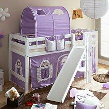 Halbhohes Bett für Mädchenzimmer Rutsche und