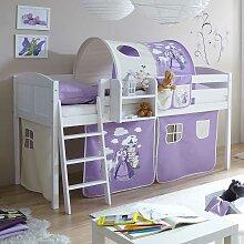 Halbhohes Bett in Weiß und Lila Prinzessin Motiv