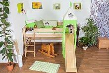 halbhohes Bett mit Rutsche und Turm - Buche natur Massivholz 90x200 cm