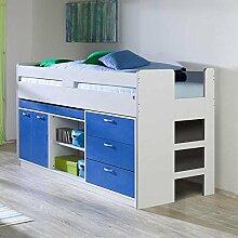 Halbhohes Bett mit Stauraum Weiß Blau Pharao24