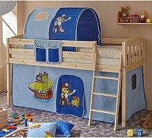 Halbhohes Kinderbett aus Kiefer Massivholz