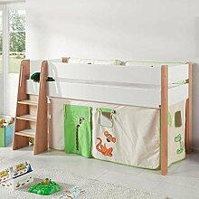 Halbhohes Kinderbett im Vorhang im Dschungel Design online kaufen Pharao24