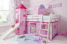 Halbhohes Kinderbett in Weiß mit Feenzelt,