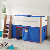Halbhohes Kinderbett mit Vorhang in Blau Rot 120