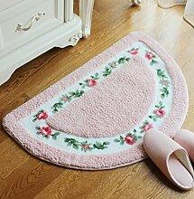 Halbkreis Pastoral Toilette Matte Lobby Matte Füße Matte Tür zu Fuss Mat Teppiche (50*80cm, Pink)
