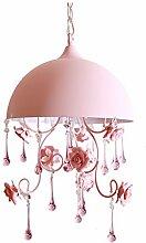 Halbkreis-Rosa-Restaurant-kleiner Leuchter, pastorale Art-Rosen-Blumen-Eisen-kreative Schlafzimmer-Treppenleiter-Leuchter