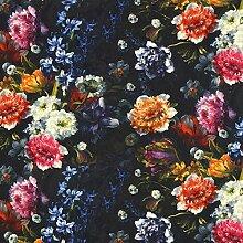 Halbpanama Blumenstrauß — Meterware ab 0,5 m — zum Nähen von Outdoor-Deko, Kissen und Tagesdecken und Tischdekorationen