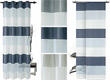 Halbtransparenter Ösenschal oder Schiebevorhang - plakatives Querstreifenmuster - elegantes Design - erhältlich in 3 modernen Farbvarianten, Schiebevorhang, blau