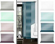 Halbtransparenter Schiebevorhang mit gelaserter Seitenkante ohne Saum - in 8 Farben - Maße ca. 245 cm x 60 cm, petrol