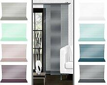 Halbtransparenter Schiebevorhang mit gelaserter Seitenkante ohne Saum - in 8 Farben - Maße ca. 245 cm x 60 cm, anthrazi