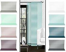 Halbtransparenter Schiebevorhang mit gelaserter Seitenkante ohne Saum - in 8 Farben - Maße ca. 245 cm x 60 cm, aqua