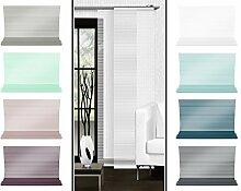 Halbtransparenter Schiebevorhang mit gelaserter Seitenkante ohne Saum - in 8 Farben - Maße ca. 245 cm x 60 cm, weiß
