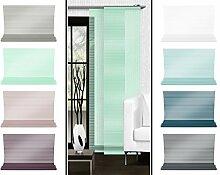 Halbtransparenter Schiebevorhang mit gelaserter Seitenkante ohne Saum - in 8 Farben - Maße ca. 245 cm x 60 cm, min