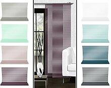 Halbtransparenter Schiebevorhang mit gelaserter Seitenkante ohne Saum - in 8 Farben - Maße ca. 245 cm x 60 cm, brombeere