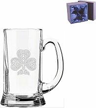 Half Pint Glas Bierkrug mit Irish Shamrock Design
