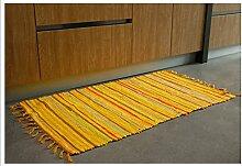 Halle Fußmatten Badteppiche Handgemachte Baumwolltuch Teppich Wohnzimmer Couchtisch Matten Schlafzimmer Nacht Mats Wattepad Badezimmer Teppich WC Matten ( farbe : Gelb , größe : 85*145cm )