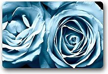 Hallo, Fußmatte Creative COM Tisch Stil Fußmatte Schönes hellblau Rose Flower Fußmatte Größe Fußmatte Fußmatte Indoor/Outdoor Dekorieren Sie Ihr Zuhause 59,9x 39,9cm