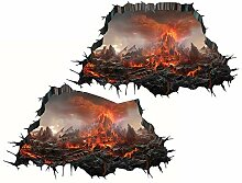 Halloween 3D Vulkan Lava Wandaufkleber,Urlaub