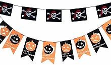 Halloween Dekoration Hängendes Fahne Kürbis Girlande Piraten Fahnen für Halloween Deko Party