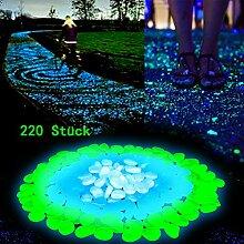 Halloween Gartendeko Leuchtsteine 220 Stück, künstliche Kieselstein leuchtende Kiesel, Dekorative Steine für Aquarium, Hof, Garten Gehweg (Grün 100 + Glau 60 + Weiß 60)