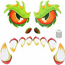 Halloween Grün Monster Wandaufkleber,ZERHOK 1 Set