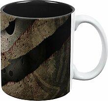 Halloween-Horror-Film Maske Slasher Angriff aller Kaffee-Haferl Standard ein weiss-schwarz Größe