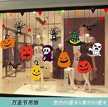 Halloween Kürbis Charme Glas Aufkleber dekorative
