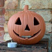 Halloween-Laterne in Kürbisform, aus Terrakotta, 18cm