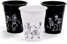 Halloween Skelett bedruckt Einwegbecher 50Stück