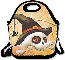 Halloween Skull Spider Lunch Bag Tote Handbag