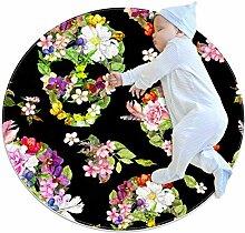 Halloween-Teppich mit Totenköpfen und Blumen,
