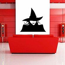 Halloween Wandaufkleber, Hexe im Hut,