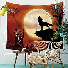 Halloween Wandteppich Kürbis Hexe Wolf Mond