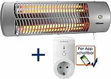 Halogen Heizstrahler + WIFI Steckdose, für Feuchträume geeignet, bis 1200 Watt, Wickeltischheizer Badezimmerheizung