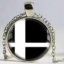 Halskette mit Anhänger aus Glas mit Smash Bros