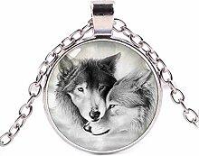 Halskette mit Anhänger aus Glas, Wolf,