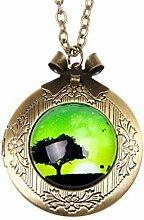 Halskette mit Anhänger Baum Foto Smaragd Vintage