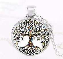 Halskette mit Anhänger Baum Lebenskunst Glas