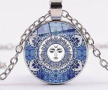 Halskette mit Anhänger im Mandala-Design, Glas,