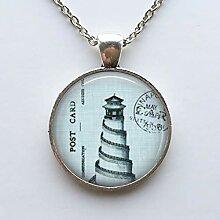 Halskette mit Anhänger Leuchtturm im