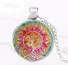 Halskette mit Anhänger, Mandala, Baum des Lebens,